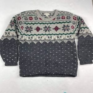 VINTAGE 80s Banana Republic Men's Knit Sweater Pullover XL Holiday snowy Gray